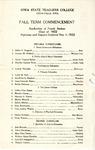Fall Term Commencement [Program], December 5, 1922