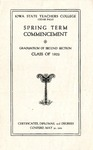 Spring Term Commencement [Program], May 30, 1922