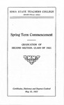 Spring Term Commencement [Program], May 31, 1921