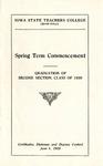 Spring Term Commencement [Program], June 1, 1920