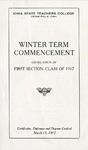 Winter Term Commencement [Program], March 13, 1917