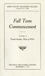 Fall Term Commencement [Program], December 5, 1916