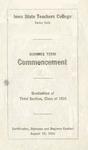 Summer Term Commencement [Program], August 29, 1916