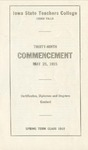 Spring Term Commencement [Program], May 25, 1915