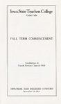 Fall Term Commencement [Program], November 24, 1914