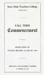 Fall Term Commencement [Program], November 25, 1913