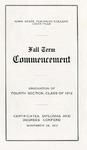 Fall Term Commencement [Program], November 26, 1912