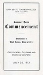 Summer Term Commencement [Program], July 26, 1912