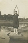 Lady in Swimming Suit, Diving Off a Boat