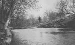 Man on Swinging Bridge