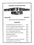 Geography Newsletter, Spring 1996 by University of Northern Iowa. Department of Geography.