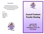 Annual Graduate Faculty Meeting [Program], April 28, 2016 by University of Northern Iowa. Graduate College.