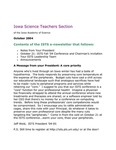 ISTS E-Newsletter, October 2004 by Iowa Academy of Science