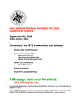 ISTS E-Newsletter, September 30, 2005 by Iowa Academy of Science