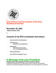 ISTS E-Newsletter, November 30, 2005 by Iowa Academy of Science