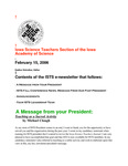 ISTS E-Newsletter, February 15, 2006 by Iowa Academy of Science
