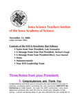 ISTS E-Newsletter, November 15, 2006 by Iowa Academy of Science