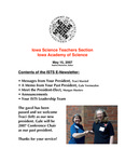 ISTS E-Newsletter, May 15, 2007 by Iowa Academy of Science