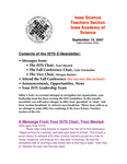 ISTS E-Newsletter, September 15, 2007 by Iowa Academy of Science