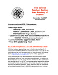 ISTS E-Newsletter, November 15, 2007