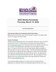 ISSO Weekly Newsletter, March 13, 2020 by University of Northern Iowa. International Students and Scholars Office.