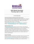 ISSO Weekly Newsletter, April 2, 2020 by University of Northern Iowa. International Students and Scholars Office.