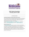 ISSO Weekly Newsletter, April 9, 2020 by University of Northern Iowa. International Students and Scholars Office.