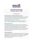 ISSO Weekly Newsletter, April 23, 2020 by University of Northern Iowa. International Students and Scholars Office.