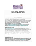 ISSO Weekly Newsletter, April 30, 2020 by University of Northern Iowa. International Students and Scholars Office.