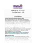 ISSO Weekly Newsletter, June 4, 2020 by University of Northern Iowa. International Students and Scholars Office.