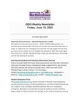ISSO Weekly Newsletter, June 19, 2020 by University of Northern Iowa. International Students and Scholars Office.