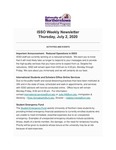 ISSO Weekly Newsletter, July 2, 2020