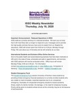 ISSO Weekly Newsletter, July 16, 2020 by University of Northern Iowa. International Students and Scholars Office.