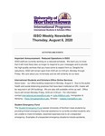 ISSO Weekly Newsletter, August 6, 2020 by University of Northern Iowa. International Students and Scholars Office.