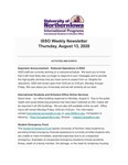 ISSO Weekly Newsletter, August 13, 2020 by University of Northern Iowa. International Students and Scholars Office.