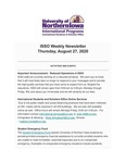 ISSO Weekly Newsletter, August 27, 2020 by University of Northern Iowa. International Students and Scholars Office.