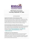 ISSO Weekly Newsletter, September 18, 2020 by University of Northern Iowa. International Students and Scholars Office.