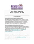 ISSO Weekly Newsletter, September 25, 2020 by University of Northern Iowa. International Students and Scholars Office.
