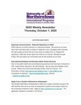 ISSO Weekly Newsletter, October 1, 2020 by University of Northern Iowa. International Students and Scholars Office.
