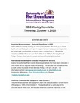 ISSO Weekly Newsletter, October 8, 2020 by University of Northern Iowa. International Students and Scholars Office.