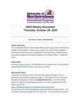 ISSO Weekly Newsletter, October 29, 2020 by University of Northern Iowa. International Students and Scholars Office.