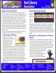 Rod Library Newsletter: Rod Notes, v5n3, October 2012 by University of Northern Iowa. Rod Library.