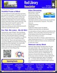Rod Library Newsletter: Rod Notes, v5n8, April 2013