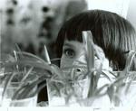 Girl examining plants