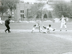 Umpire hurries in for the call