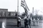 1945 flag ceremony at T.C. relays