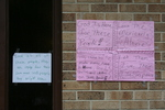 Handwritten signs outside St. Bridget's Catholic Church 01 by Julie Berg-Raymond