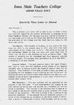 Quarterly News Letter to Alumni, January 21, 1915 by Iowa State Teachers College