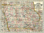 Cram's Rail Road & Township Map of Iowa