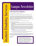 Student Disability Services Campus Newsletter, Spring 2015